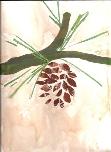 Pine Cone by OD, Paper Palette Collage with a watercolor wash! Superb
