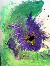 Thelma's acrylic on canvas pansy