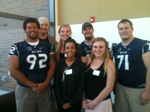 Our interns, Shelby, Hanna & Riley pose with myself & 3 Wolf Pack players at the annual Celebration!