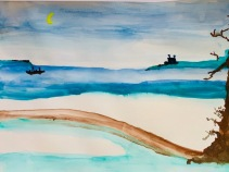 Canoe in Japan Water Color by Chico